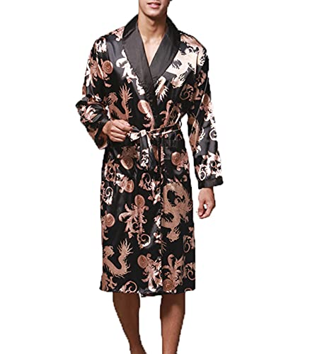 LAIYUTING Stijlvolle Heren Badjas Zijde Kimono Lange Mouwen Gewaad Print Pyjama Mannen Jurk Badjas Mannen Homewear - - 5XL