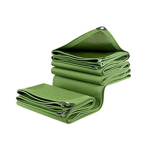 GXYAWPJ- Verde Militar Tridimensional Ribete Gruesa Lona Capa Impermeable Lienzo Prueba de Lluvia 600g/㎡ Tejido Resistente Al Desgarro 1m1 Ojales Multiusos Acampar de Jardín Toldo Vela(Size:8×12m)