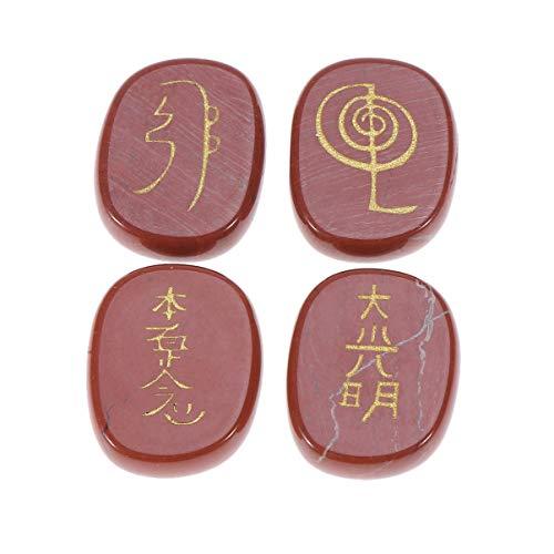 HEALLILY 4 Piezas de Piedras Rúnicas Set Piedras de Chakra Letras Naturales Rocas Grabadas Roca Grabada para Curar El Equilibrio del Chakra para Dormir