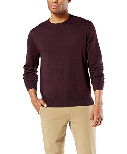 Dockers Men's Long Sleeve Crewneck Sweater, Heather Red, XX-Large