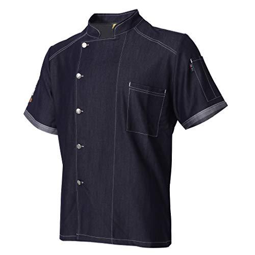 B Blesiya Camisa de Chef de Vaquero Chaqueta de Cocinero de Mangas Cortascon Bolsillo de Pecho Uniforme de Restaurante de Verano Transpirable