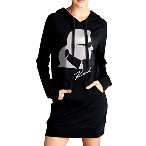 Rip Karl Lagerfeld Frauen Pullover Hoodie Kleid Mode Lässig Lange Hoodie Sweatshirts M