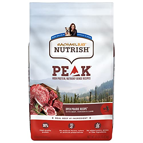 Rachael Ray Nutrish PEAK Natural Grain Free Dry Dog Food, Open Range with Beef, Venison & Lamb, 23 lbs