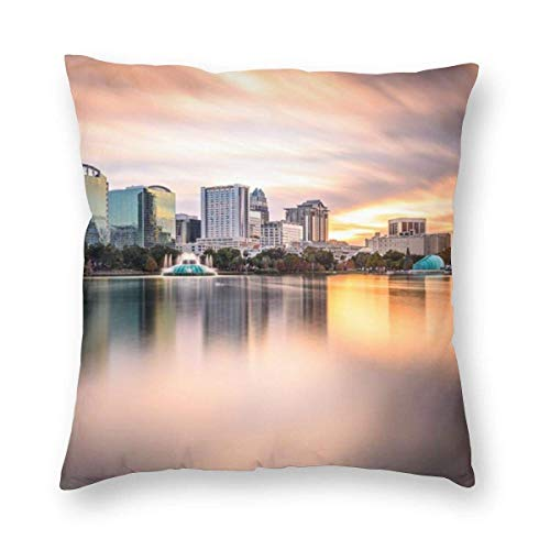 Clothes socks Orlando Florida Downtown City Decorative Square Throw Pillow Cases Soft Soild Pillow Slips for Sofa Bed Chair 18 X 18 in