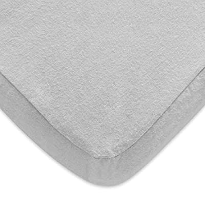 Pack N Play Sheets, 100% Cotton Flannel, Fitted Portable Mini Crib Sheet for Girls Boys, Ultra Soft Breathable Convertible Playard Mattress Cover, Playard Playpen Sheet, Grey