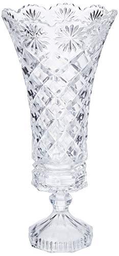 Vaso com Pé de Cristal Diamond Lyor Transparente 16 x 33.5 cm