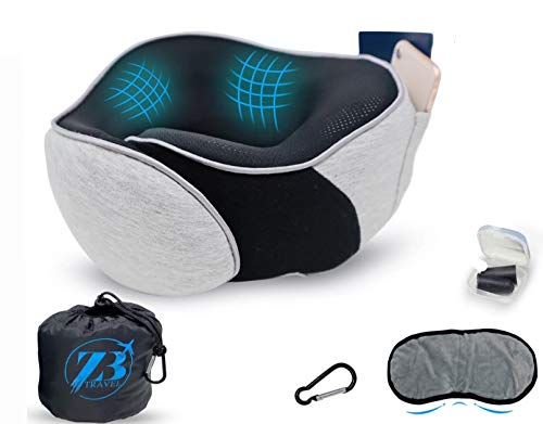 Travel Pillow Turtle Neck Support: for Airplane Flight 100% Memory Foam Best Washable Cover Sleeping Adjustable wrap Chin kit Cooling Ergonomic headrest Comfort Rest Blanket Kids Adults