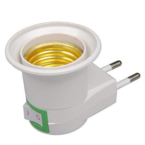 INJUICY Europäischer Steckeradapter mit Ein/Aus-Schalter, Lampenfassung Konverter-Adapter Mit Hohe Temperaturbeständigkeit ABS-Material, E27-Buchse