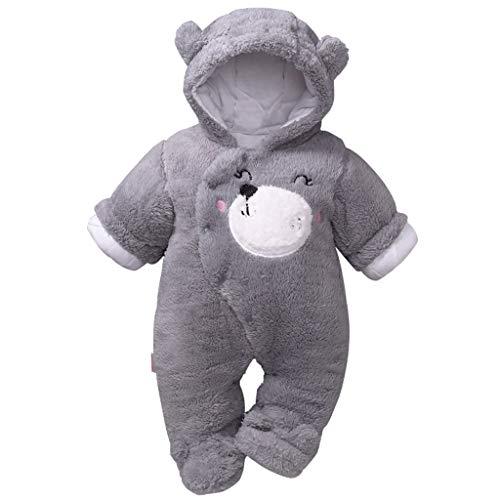 Baby mit Kapuze Strampler Winter Overall Flanell Outfits Jungen Mädchen Pyjama SäUgling Spielanzug Footies Outwear Grau 3-6 Monate