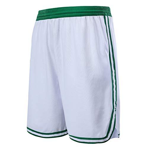 Boston Celtics Shorts für Kinder und Jugendliche, Basketball Shorts für Männer mit Taschen, Fitness Sports Training Shorts, Loose Running Beach Shorts (Weiß,M)