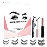 Johiux Magnetic Eyelashes, Reusable Magnetic Eyeliner and Lashes Kit, 3 Magnets Natural Look Magnetic False Eyelashes With Waterproof Long Lasting Magnetic Eyeliner.