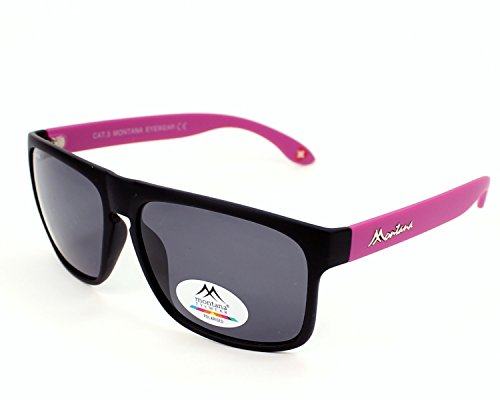 Montana Eyewear Sunoptic MP37C zonnebril in zwart plus paars, inclusief softetui