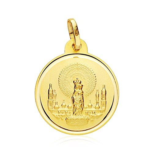 Medalla Virgen del Pilar 18 Ktes 20mm
