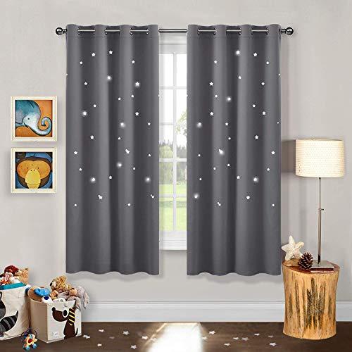 PONY DANCE Cortinas Estrellas de Dormitorio Infantil - Cortinas Blackout para Ventanas Habitación Juvenil, 2 Paneles, 132 x 158 cm, Gris