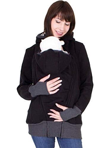 JIER Babytrage Jacke Damen 3 in 1 Softshell Tragejacke für Mama und Baby mit Kapuze Langarm Umstandsjacke Warm Tragepullover mit Babyeinsatz (Schwarz,XX-Large)