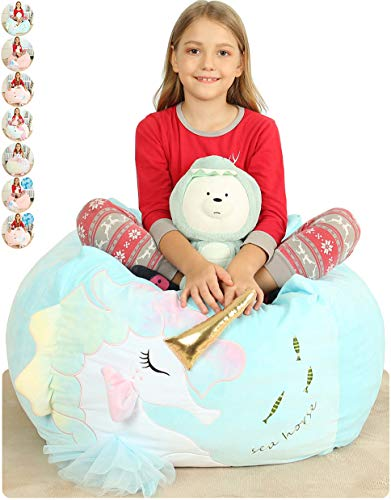 Anzitinlan Unicorn Chair for Girls, Stuffed Animal Storage Bean Bag Chair for Kids, Stuff 'n Sit Organization for Kids Toy Storage, Baby Fleece Fabric Super Soft, Cover Only,Large Size 22x24x20 Inch