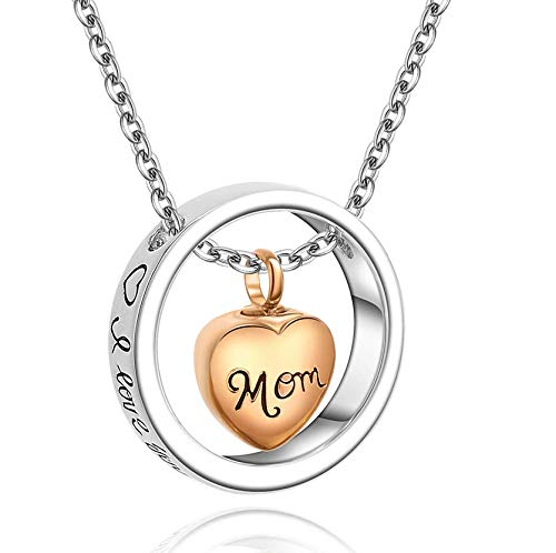 clockxm Cremation Necklace Stainless steel i love you to the moon and back cremation memorial ashes urn keepsake pendant necklace jewelry