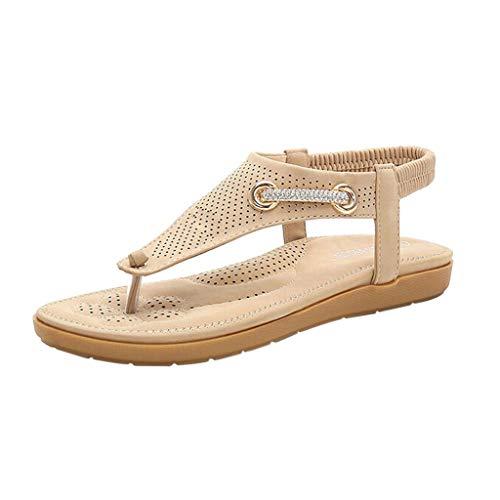 Fenverk Sandalen Damen Sommer Flip Flops Bohemian Flach Zehentrenner Mit Strass Sandals, Frauen Sandaletten Pu Leder Beige, Pink, Schwarz 35-41(Beige B,36 EU)