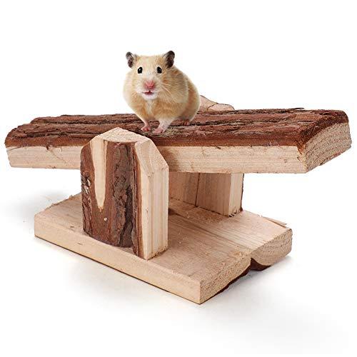 Criceto Altalena Gabbia di Animali Domestici in Legno Naturale Giocattoli da Masticare Accessori per Gabbia per Piccoli Animali Coniglio Topi Ratto Cavia Criceto