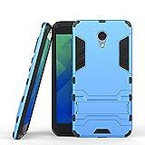 pinlu Hülle Für Meizu M5 Note Raffinierte Kombination aus Rutschfestem TPU- Und Gehärtetem Polycarbonat Hülle 2-Lagen Hybrid Hard Cover Schutzhülle Blau
