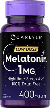 Melatonin 1 mg | 400 Low Dose Tablets | Drug Free Sleep Aid | Vegetarian Non-GMO Gluten Free | by Carlyle