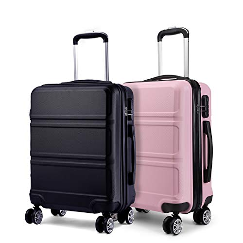 Kono Luggage Set 2 Pieces Light Weight Hard Shell ABS Suitcase 4 Wheel Hand Luggage Cabin Travel Case (Pink+Black)