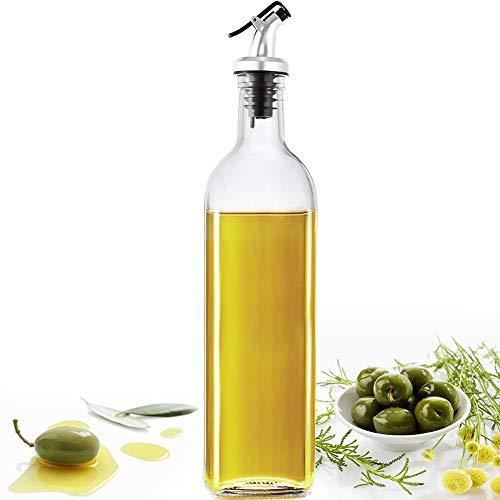 Oil Dispenser Olive Oil Bottle Drizzler Vinegar Bottle 500ml Glass Olive Oil Dispenser Bottle for Cooking Lead-Free Glass Oil and Vinegar Bottle for Oil Vinegar Soy Etc (1 PCS)