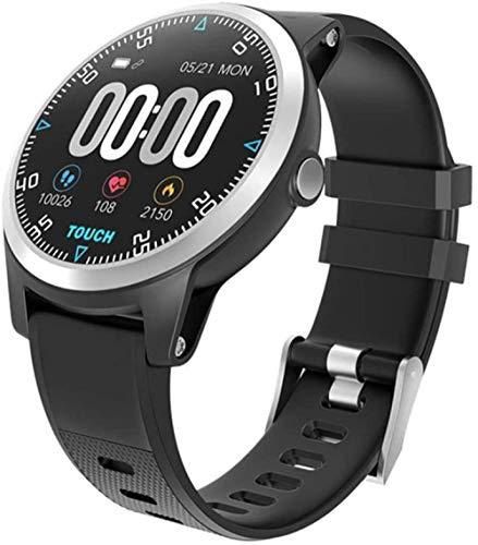 Reloj Inteligente ECG Pulsera de Ritmo Cardíaco Presión Arterial Fitness Tracker Pantalla a Color Impermeable Hombres Mujeres Deporte Adroid IOS Reloj-Negro