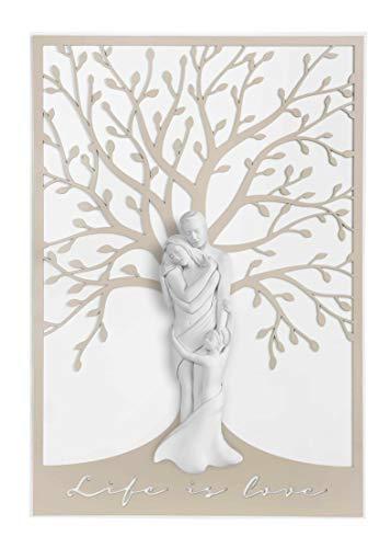 MAZZOLA LUCE Capezzale Verticale Sacra Famiglia Moderna 70x48 cm Quadro capoletto per Camera da Letto con Albero della Vita Nocciola