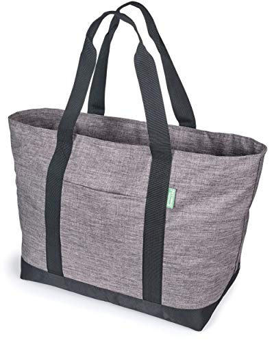 """X-Large Tote Bag For Women or Men – Premium 22"""" Carry-All Bag With Foldaway Zipper Top – For Work, Gym, Pool, Teachers, Nurses – Stylish, Durable Utility Tote For Daily Use (Gray)"""