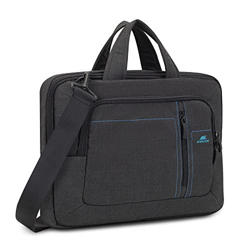RIVACASE Notebooktasche für Laptops bis 13.3 Zoll – Leichte & stillvolle Notebooktasche mit Zubehör Fächern & wasserabweisenden Material / 7520 Schwarz
