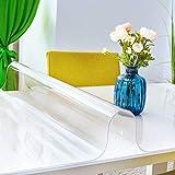 ANRO Tischfolie durchsichtig abwaschbar 2mm Transparent Tischdecke Weich PVC Folie abgeschrägte Kante V 45° 90x180cm Viele Größen (1000) - 3