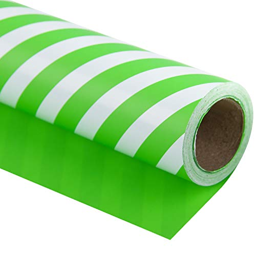 WRAPAHOLIC Reversible Wrapping Paper - Green and Stripes Design for Birthday, Holiday, Wedding, Baby Shower Wrap - 30 inch x 33 feet