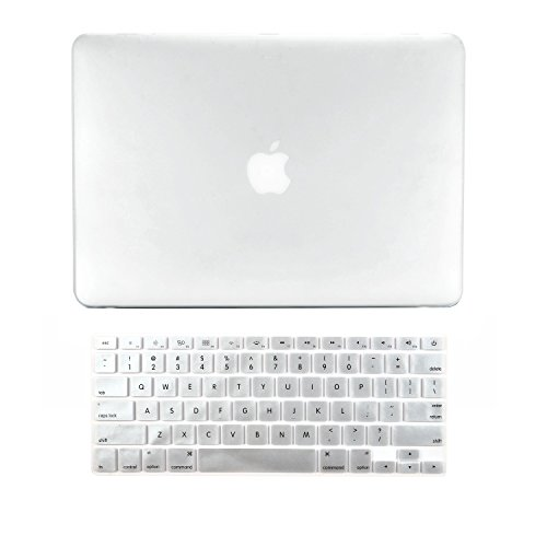 Top-Case – 2 in 1 Bundle Deal Gummierte Hartschale + Tastatur Cover für MacBook weiß 33 cm Unibody mit Topcase Maus Pad farblos Macbook White A1342