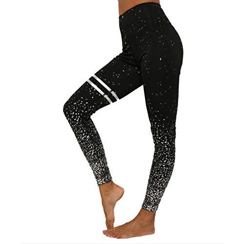 BBY High Waist Yoga Pants, Tummy Control, Workout Pants for Women 4 Way Stretch Yoga Leggings (Black+Silver, L)