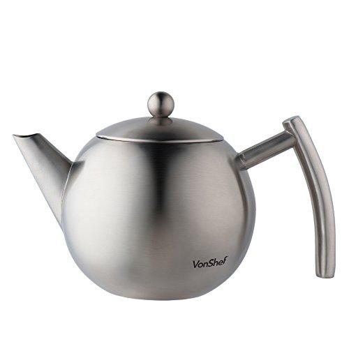 VonShef 1L Teekanne Seidenmatte Edelstahl mit Sieb