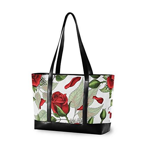 RELEESSS Tote Laptop Bags Rose Flower Handbag Shoulder Bag Laptop Case for Women Ladies Girls