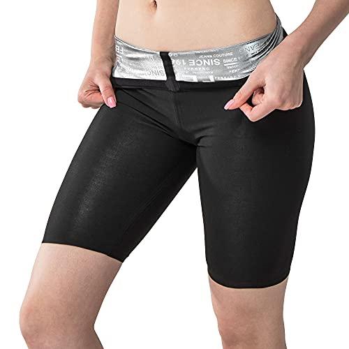 SOGNO D ORO Pantalones Sauna Mujer Corto Pantalón, Cintura Alta Leggins Mallas Reductores Adelgazantes Pantalón Corto Deporte Mujer para Fitness Running Yoga Gym Sudoración