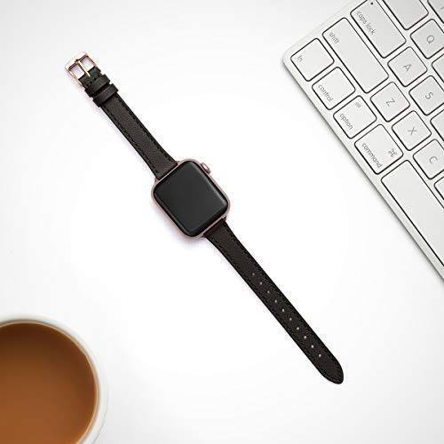 STIROLL Slim Leather Bands Compatible with Apple Watch Band 38mm 40mm 42mm 44mm, Top Grain Leat   her Watch Thin Wristband for iWatch Series 5/4/3/2/1 (Black with Rose Gold, 38mm/40mm)