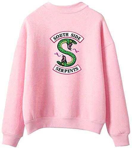 OLIPHEE Felpe Girocollo Felpe Sportive Maglione Vintage Collo Alto con Logo Figata per Uomo e Ragazzi Rosa-1 Medium