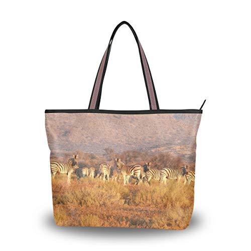 Eslifey Zebra Herd On The Grassland Damen Tote Bag Handtaschen Schultertaschen für Damen Mädchen Gr. 38, multi