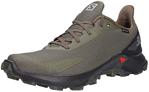 Salomon Herren Alphacross Blast GTX, Wasserdichte Trail Running Schuhe, Grün (Olive Night/Black/Ebony), 42 2/3 EU