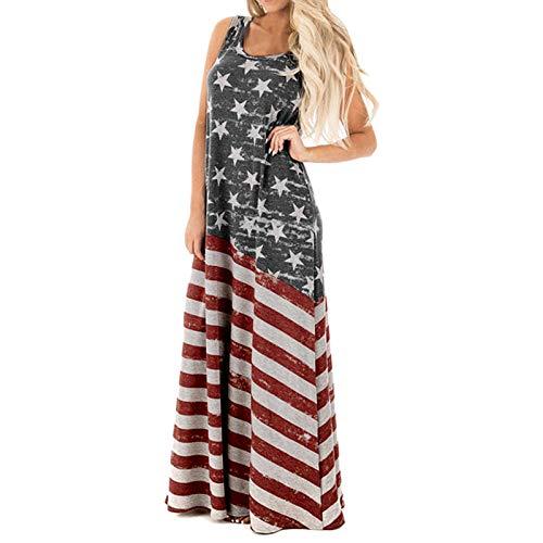 VEKDONE Women Summer Casual Stripe Elastic Waist Loose Beach Midi Dress 4th of July American Flag Sleeveless Tank Dress Grey