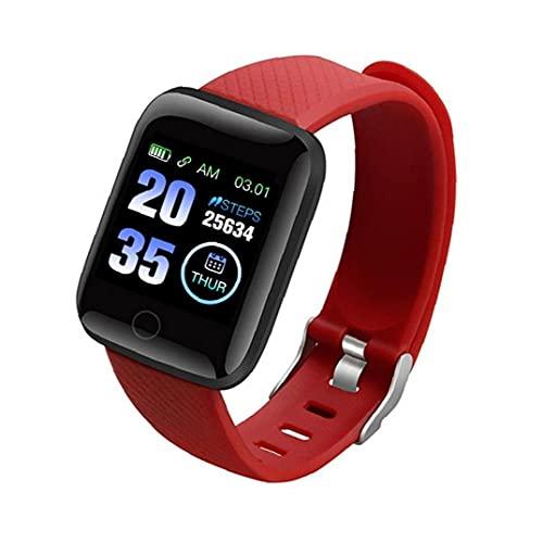 FeelMeet Pulsera Inteligente Inteligente Reloj Bluetooth 116Plus móvil Reloj de la Aptitud Hombres y Mujeres Blood Red Impermeable Prueba de Presión