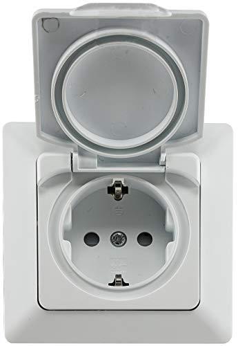 MILOS Feuchtraum Unterputz Steckdose IP44 für Innen und Aussen Schutzkontakt-Steckdose mit Klapp-Deckel mit Silikondichtung 230V / 16A Weiß Matt