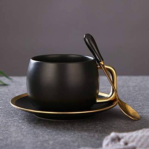 DWZX Tassen Schwarzes Loch Stil New Matt Schwarz Gold Champagner Kaffeetasse Set Tischdekoration Einzigartige Reise Paar Teetassen Und Becher