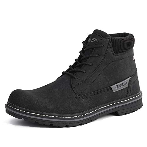 ZASEPY Men's Boots Anti-Slip Water Resistant Leather Outdoor Shoes Casual Boot for Men Black