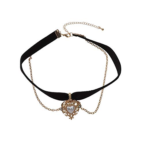 Feelontop Tattoos Layers Chain Pearl Rhinestone Hollow Heart Pendant Choker Necklace with Jewelry Pouch