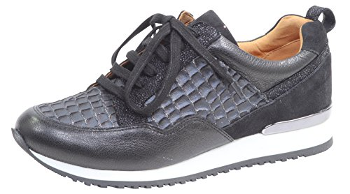 CAPRICE Damen Low-Top Sneaker 23602-21,Frauen Keil-Sneaker,Sneaker Wedges,Keilabsatz,Halbschuh,Sportschuh,Schnürschuh, Decksohle,2.5cm,Black Comb,EU 42