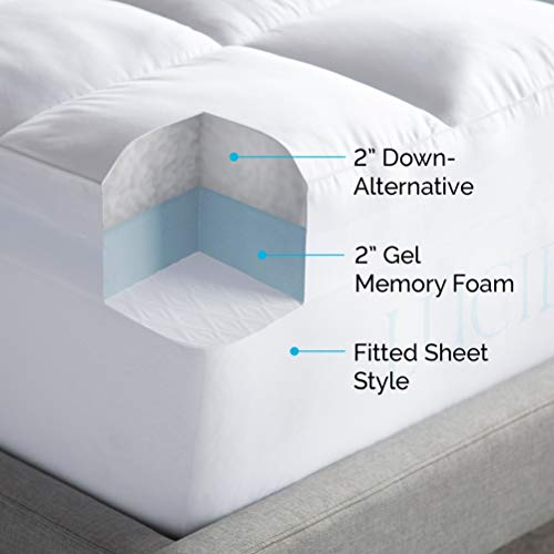 LUCID 4 Inch Down Alternative and Gel Memory Foam Mattress Three Toppers in One-Hypoallergenic, Twin